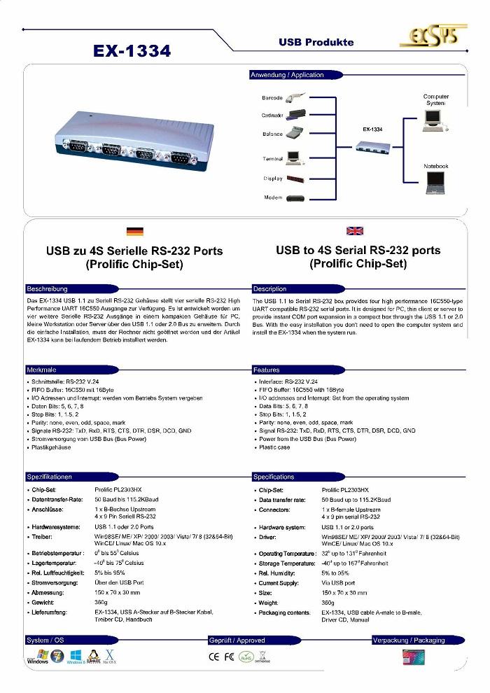 EXSYS EX-1334 WINDOWS 8.1 DRIVER